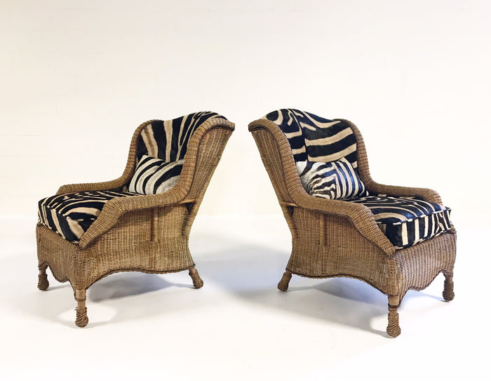 Vintage Ralph Lauren Wicker Wingback Chairs Restored in Zebra Hide - Pair - FORSYTH