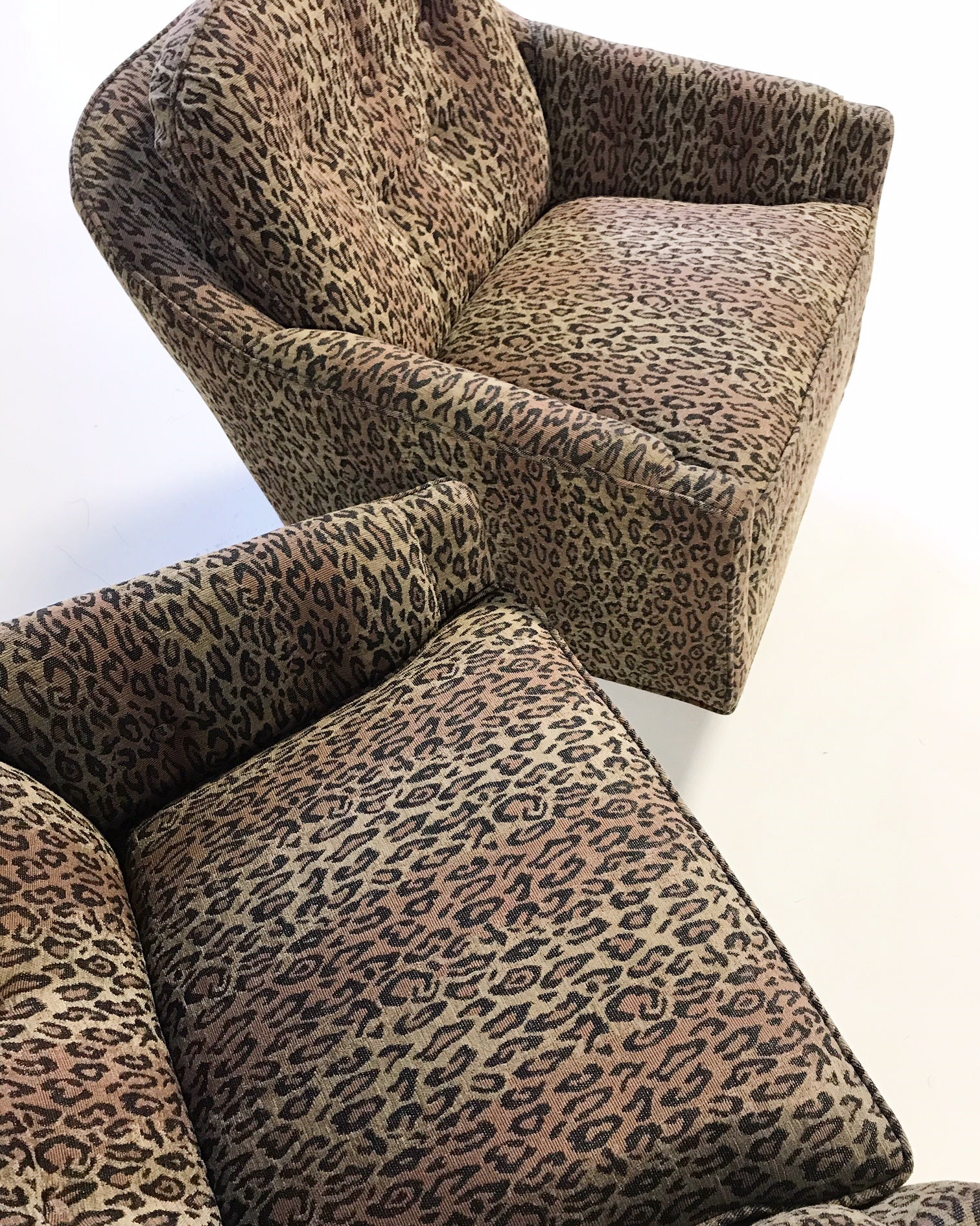 Lounge Chairs In Kravet Leopard Print Fabric Pair Forsyth