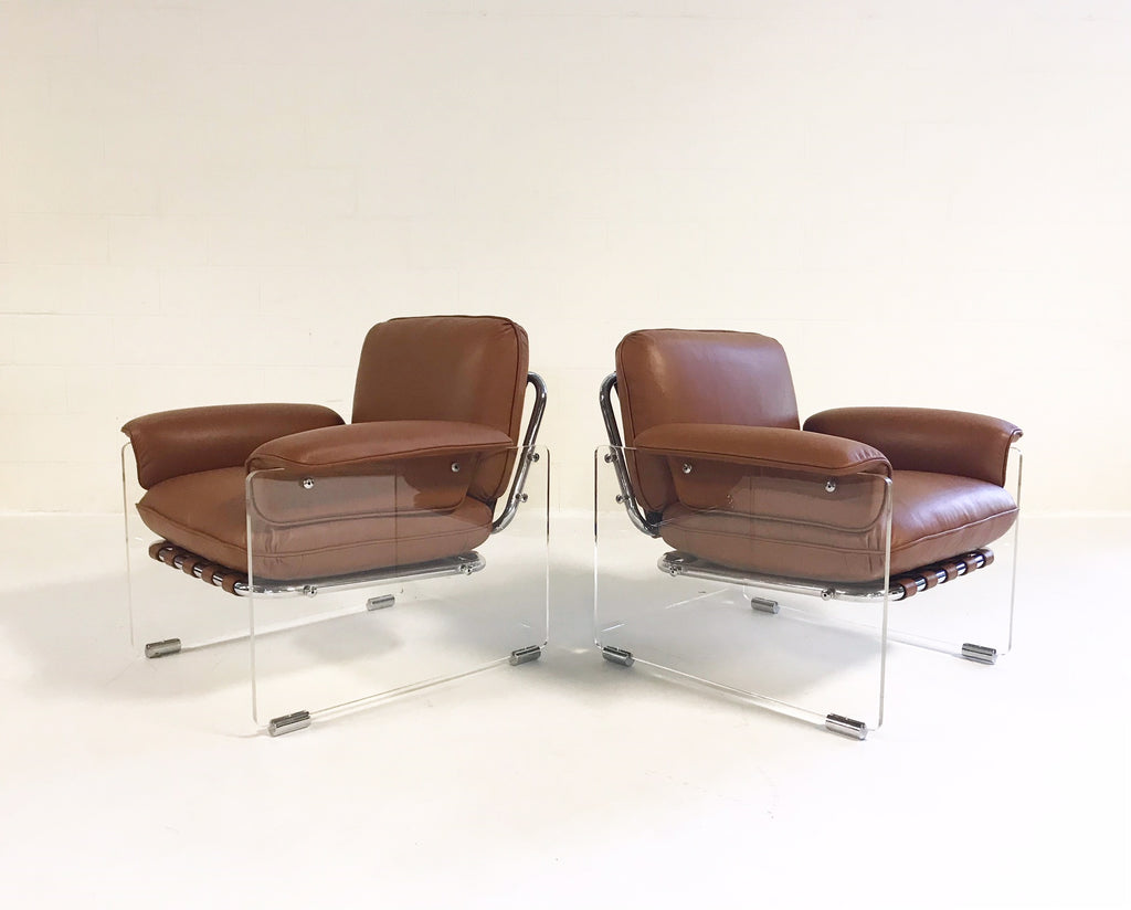 Vintage Pace Collection Argenta Lucite Chairs Restored in Loro Piana Italian Buffalo Hide - Pair - FORSYTH