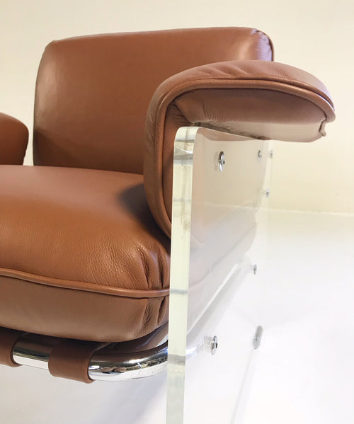 Argenta Lucite Chairs in Loro Piana Italian Buffalo Leather, pair - FORSYTH