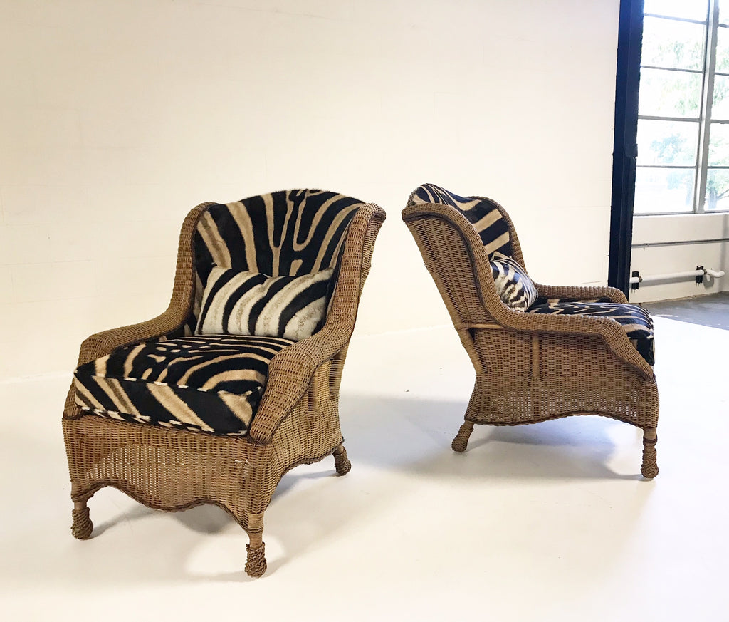 Vintage Ralph Lauren Wicker Wingback Chairs Restored In Zebra Hide   Pair    FORSYTH