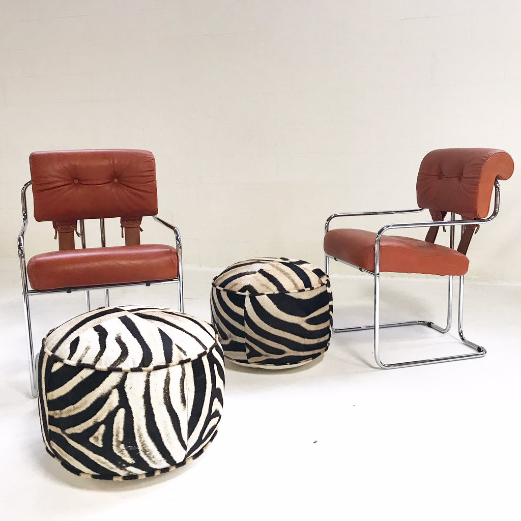 Pair of Italian Leather Tucroma Chairs by Mariani for Pace Collection with Zebra Hide Pouf Ottomans - FORSYTH