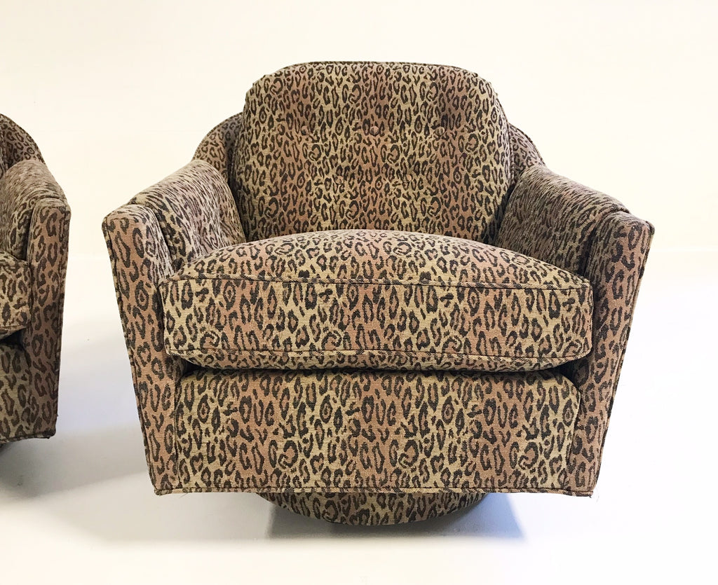 Vintage Milo Baughman Swivel and Tilt Lounge Chairs Restored in Kravet Leopard Print Fabric - FORSYTH