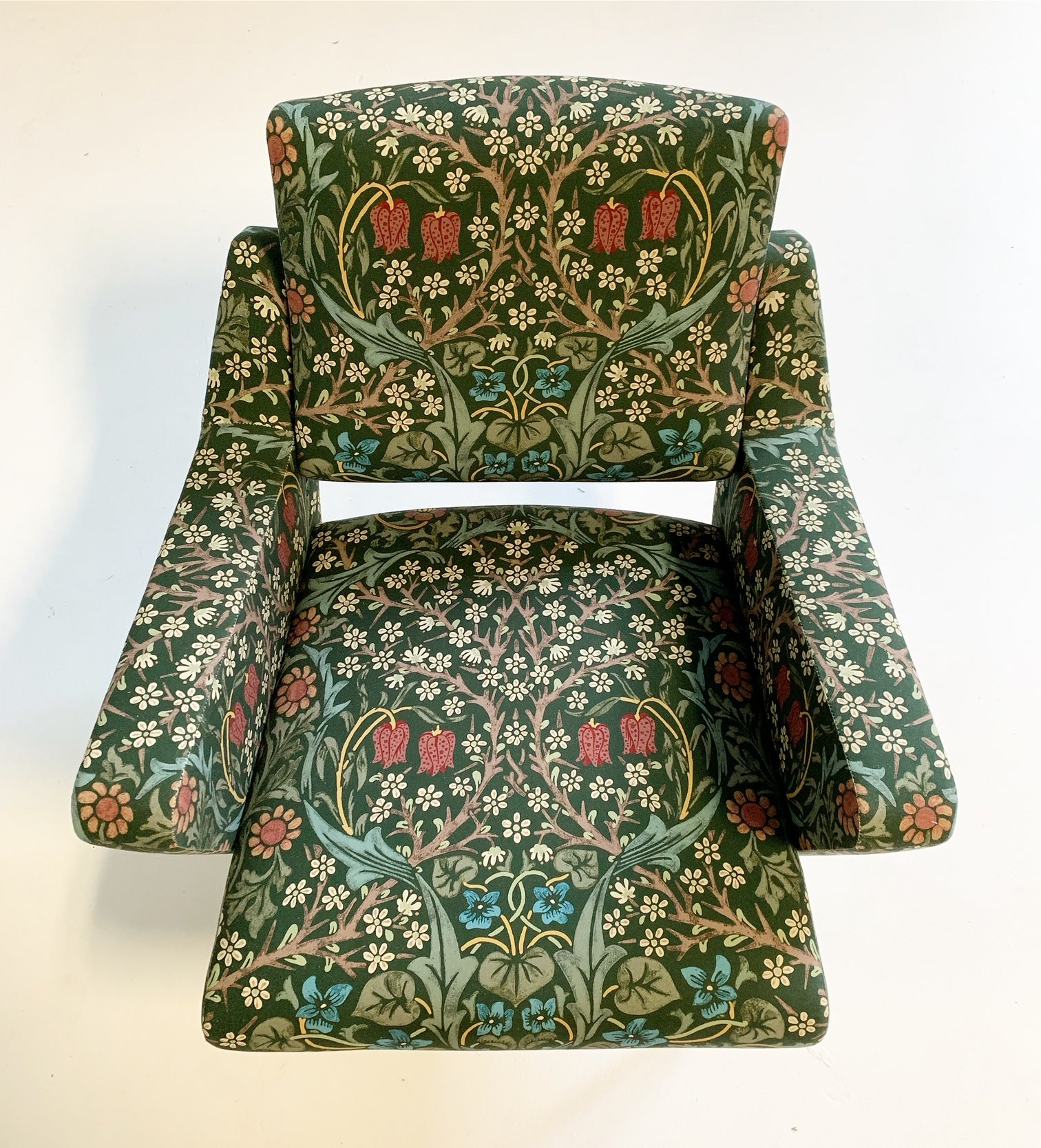 c. 1955 French Lounge Chairs in William Morris Blackthorn, pair - FORSYTH