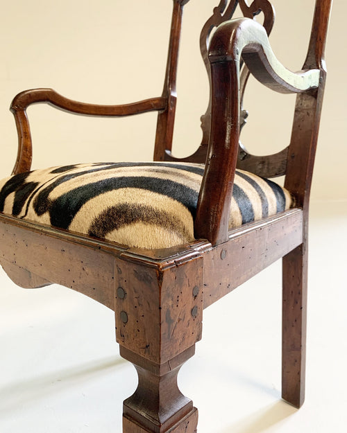 Antique Dutch Armchair in Zebra Hide - FORSYTH