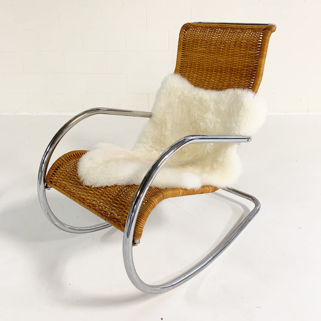 Mid-Century Style Lucite Chairs with Black Brazilian Sheepskin Throws - Pair - FORSYTH