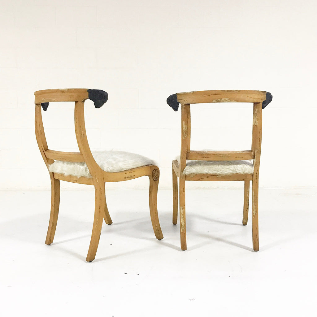 Pair of French Side Chairs with Ram Heads in Ivory Cowhide