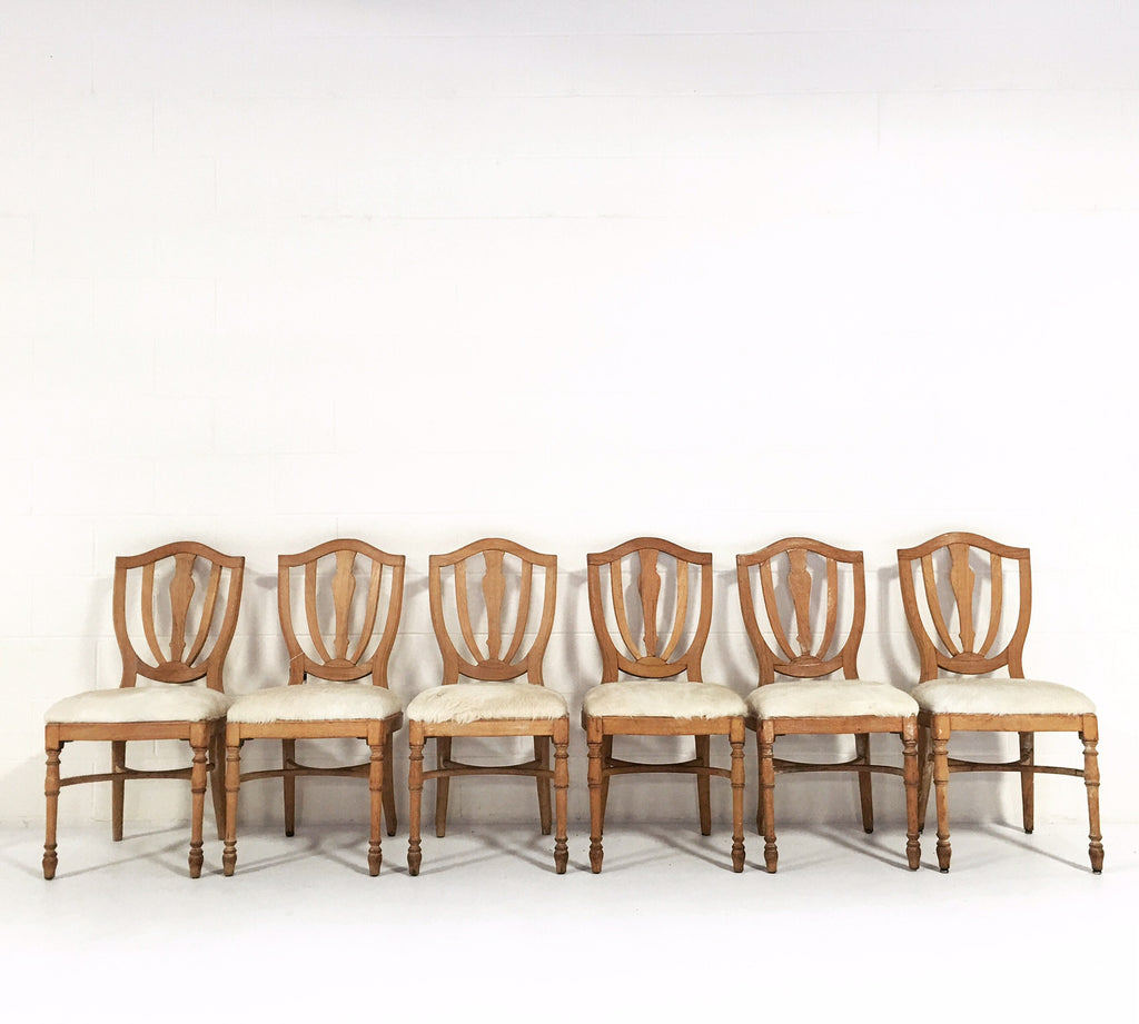 Vintage Maple Dining Chairs in Brazilian Ivory Cowhide - Set of 6 - FORSYTH