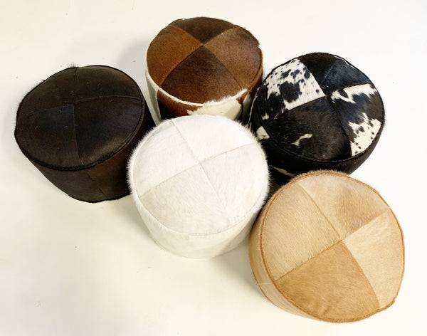 Ivory Cowhide Pouf Ottoman - FORSYTH