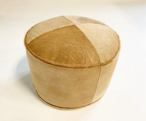 The Forsyth Pouf Ottoman in Palomino Cowhide - FORSYTH