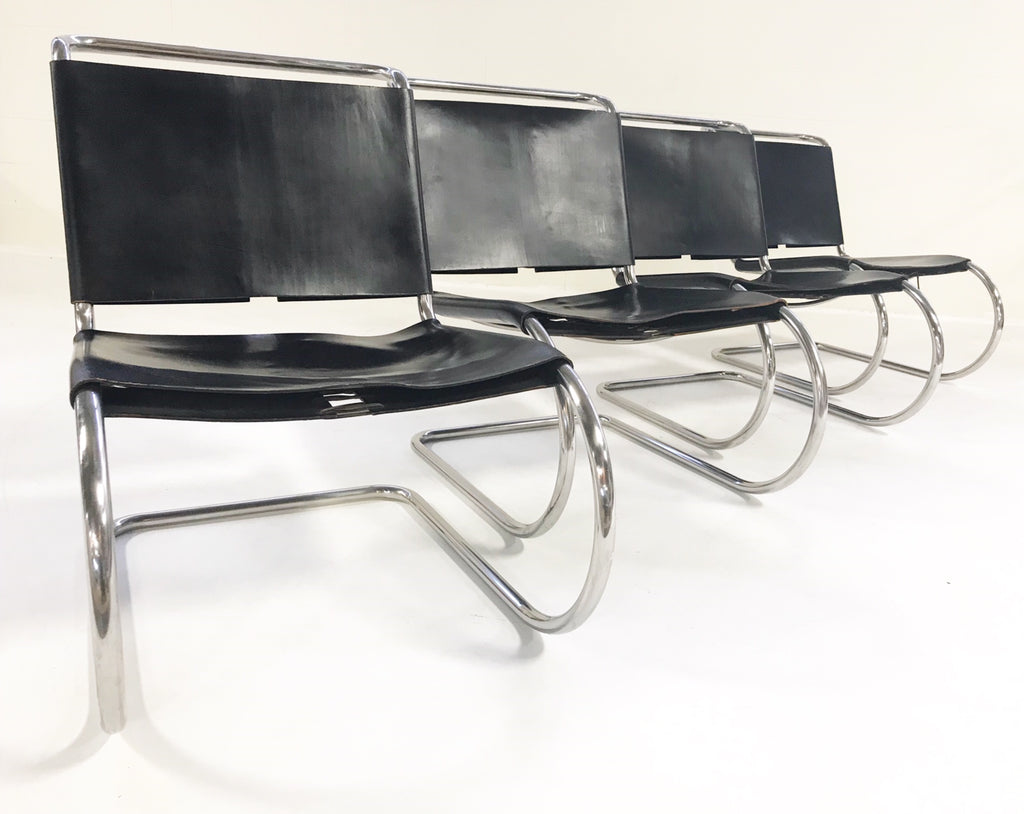 Ludwig Mies Van Der Rohe for Knoll MR Chairs with Brazilian Sheepskins - Set of 4