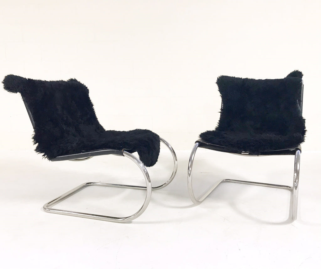 Ludwig Mies Van Der Rohe for Knoll MR Chairs with Brazilian Sheepskins - Pair - FORSYTH
