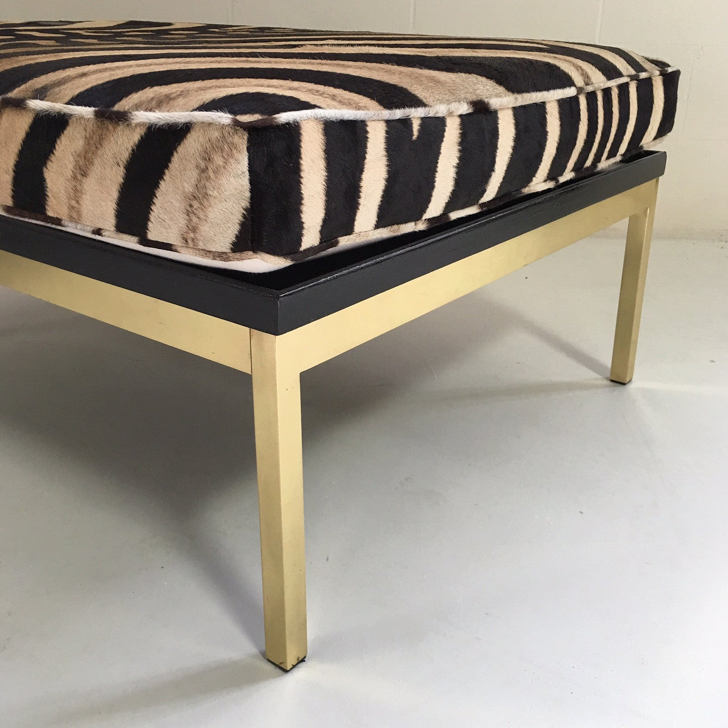 Knoll Style Zebra Hide and Brass Ottomans, pair - FORSYTH