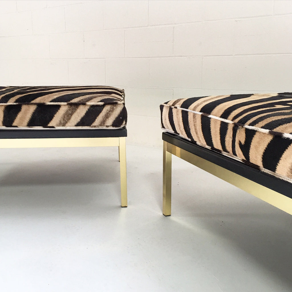 Knoll Style Zebra Hide and Brass Ottomans - Set of Two - FORSYTH
