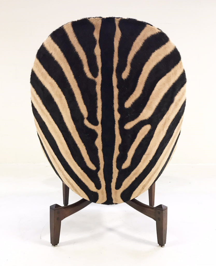 Mid-Century Lounge Chair with Ottoman Restored  and Reupholstered in Zebra Hide