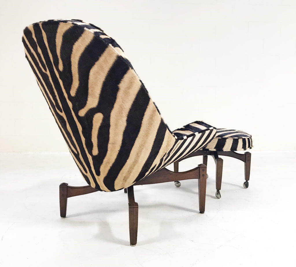 Mid-Century Lounge Chair with Ottoman Restored  and Reupholstered in Zebra Hide - FORSYTH