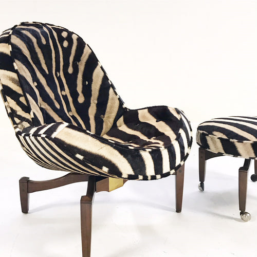 Lounge Chair with Ottoman in Zebra Hide - FORSYTH