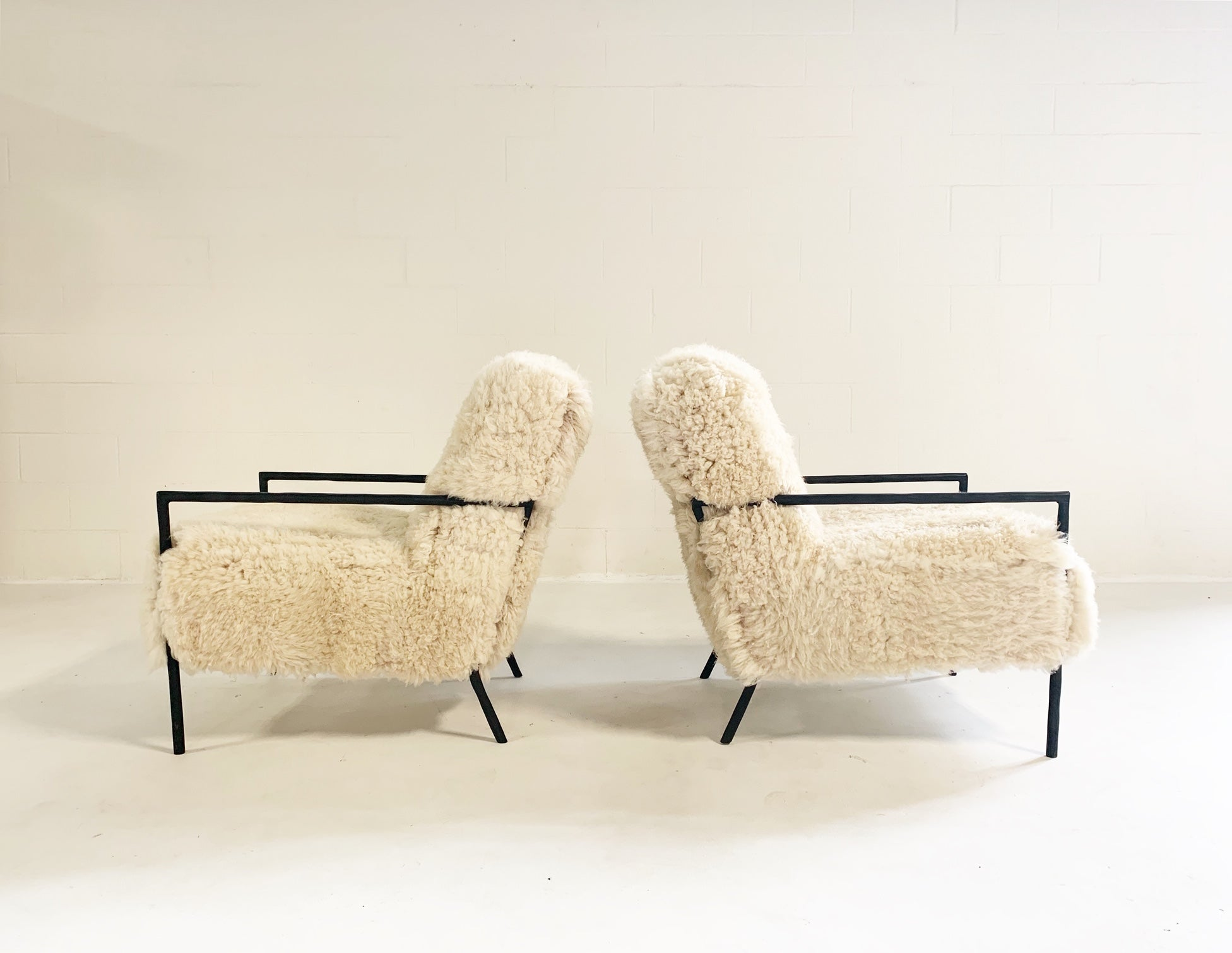 Iron Armchairs in California Sheepskin, pair - FORSYTH
