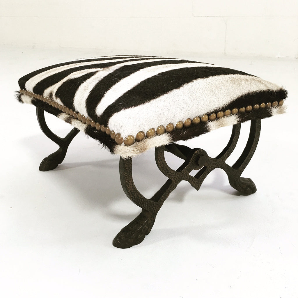 Iron Foot Stool in Zebra Hide - FORSYTH