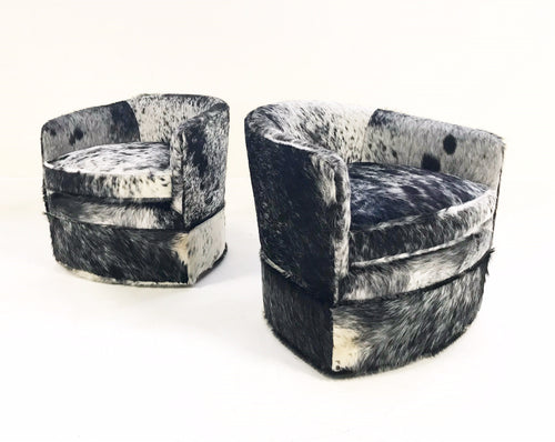 Wheeled Slipper Chairs in Brazilian Cowhide, pair - FORSYTH
