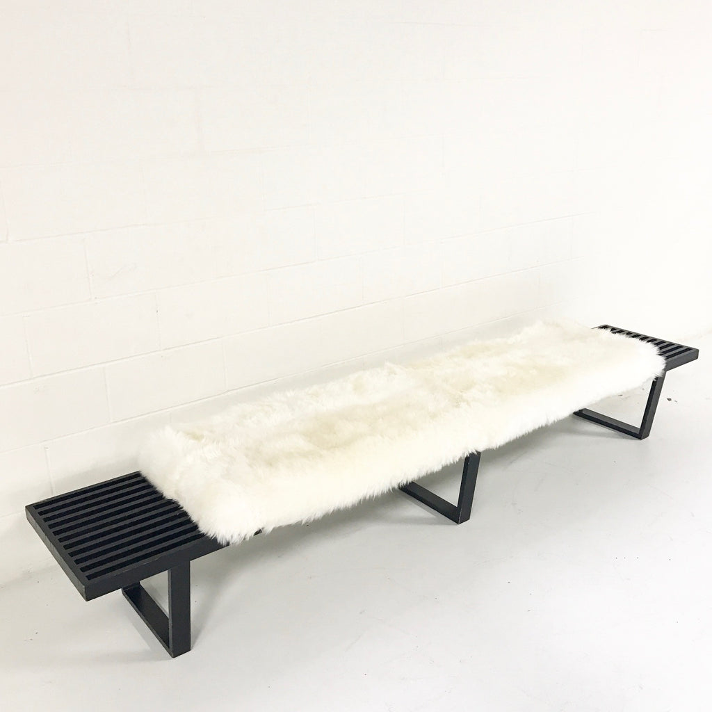 George Nelson & Associates for Herman Miller Slat Bench, Model 4693 with Sheepskin Cushion - FORSYTH