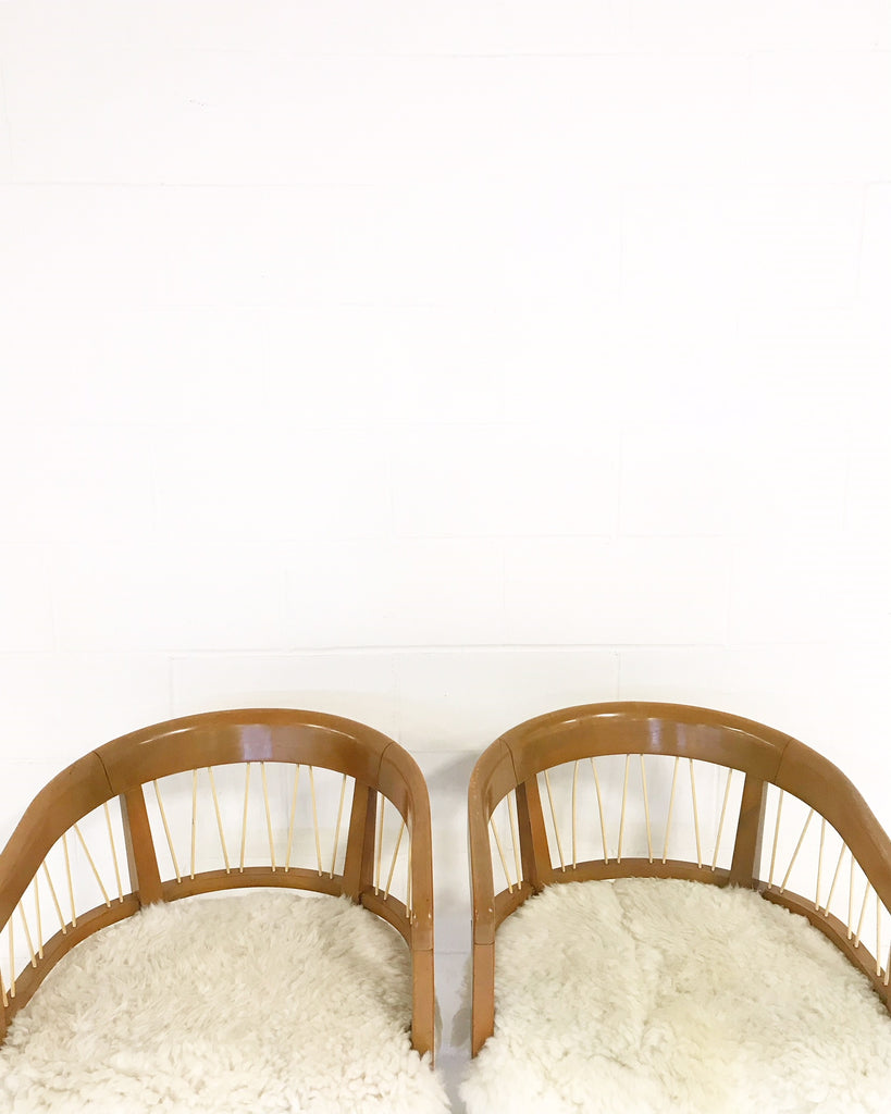 Edward Wormley for Drexel Armchairs in Brazilian Sheepskin - Pair - FORSYTH