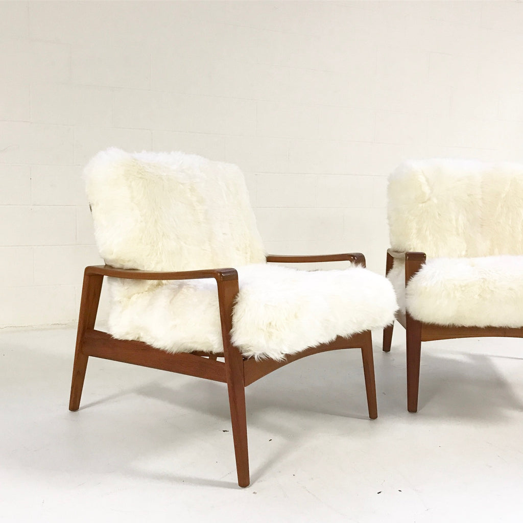 Danish Lounge Chairs by Arne Wahl Iverson for Komfort in Sheepskin - Pair - FORSYTH