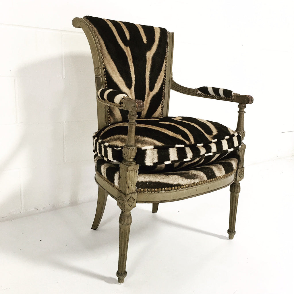 French Boudoir Armchair in Zebra Hide - FORSYTH