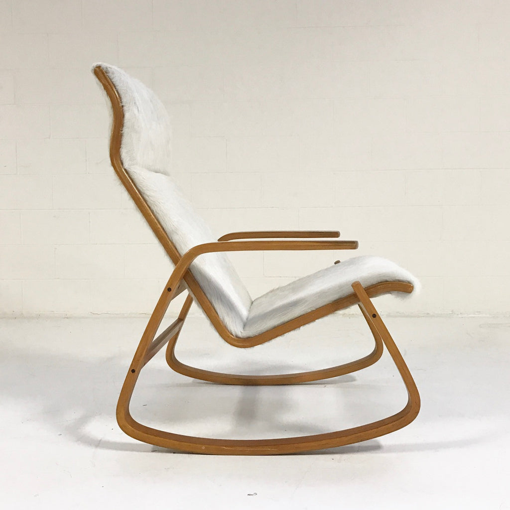 Danish modern rocking chair - Ingmar Relling For Westnofa Of Norway Danish Modern Rocking Chair In Ivory Cowhide