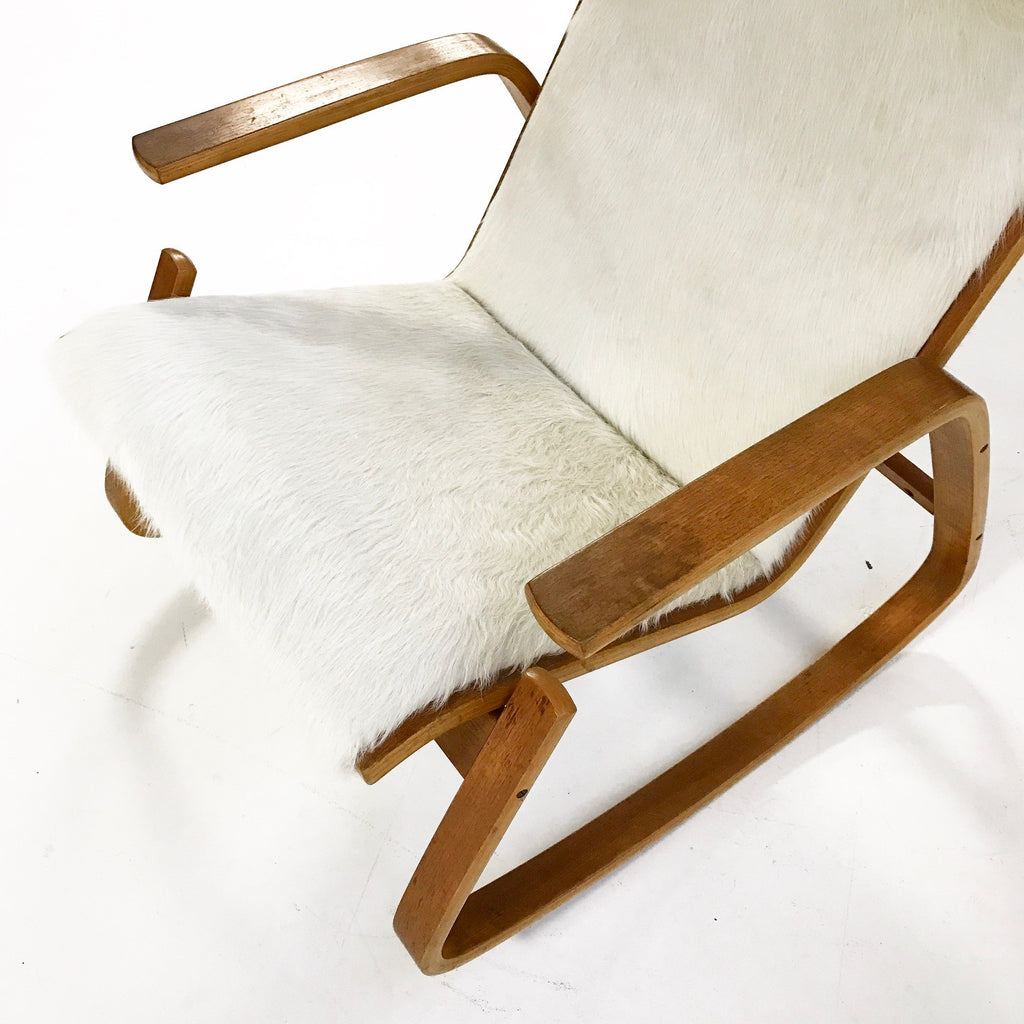 Ingmar Relling for Westnofa of Norway Danish Modern Rocking Chair in Ivory Cowhide - FORSYTH