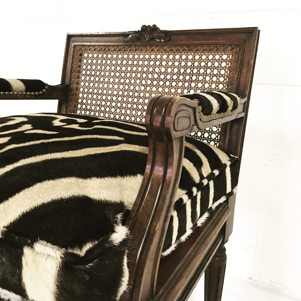 FRENCH LOUIS XVI STYLE BOUDOIR CHAIR WITH CANED BACK AND SEAT AND CUSTOM ZEBRA HIDE CUSHION - FORSYTH