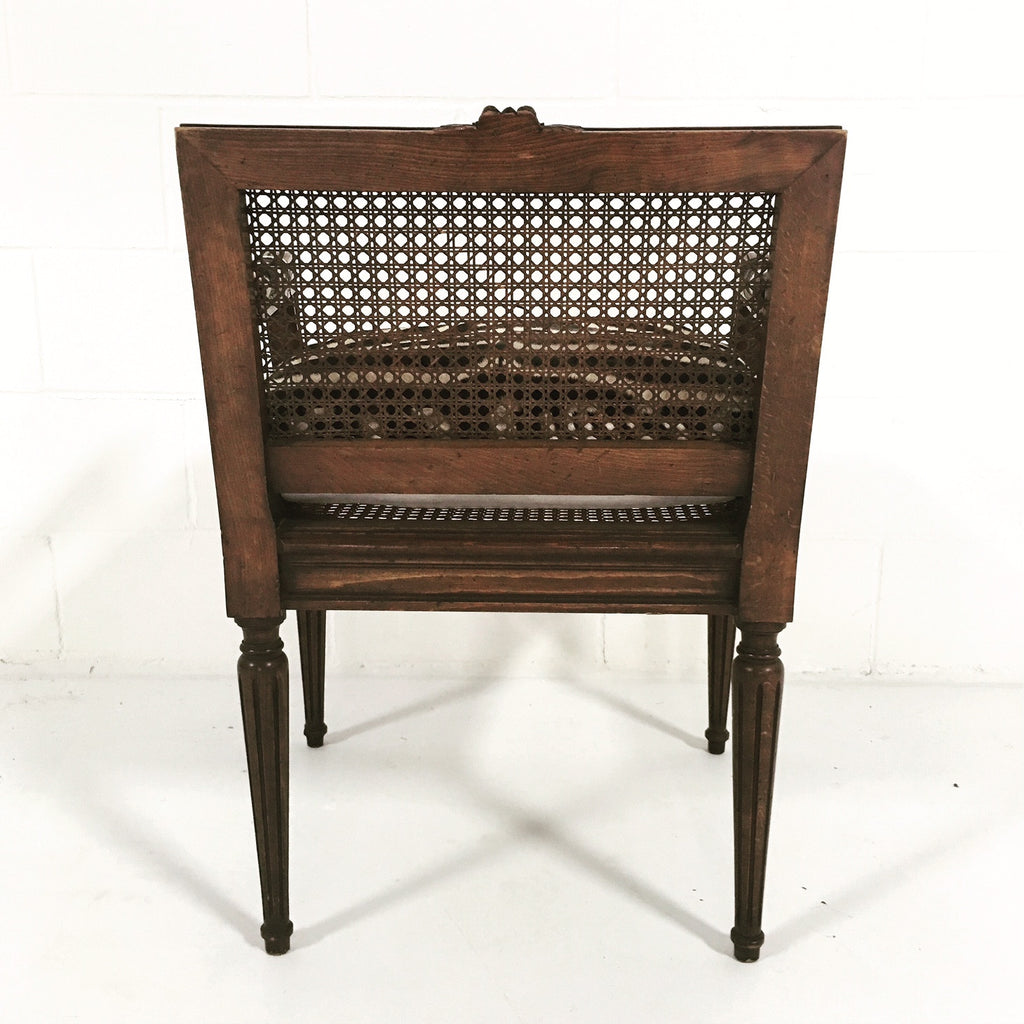 FRENCH LOUIS XVI STYLE BOUDOIR CHAIR WITH CANED BACK AND SEAT - FORSYTH