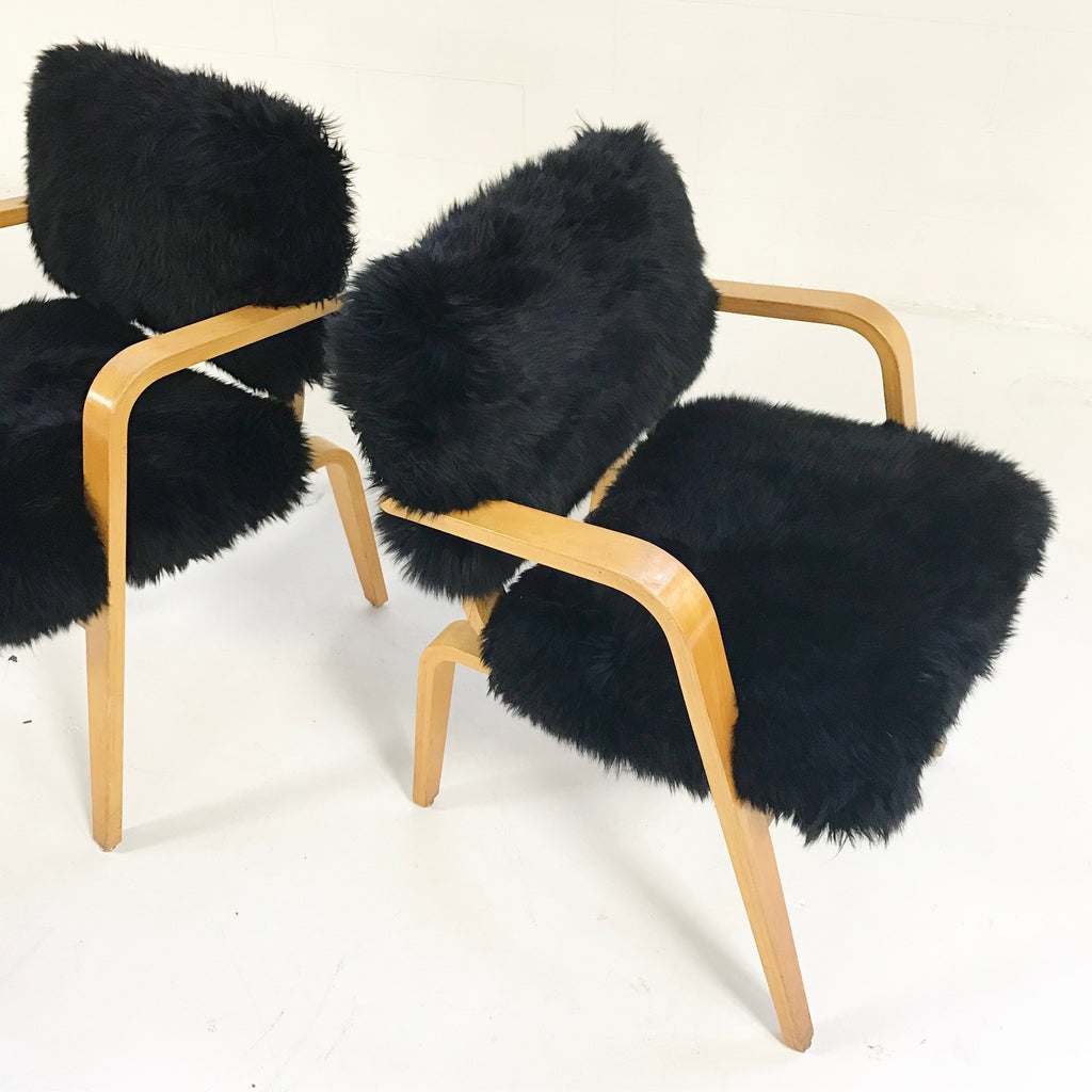 Pair of Thonet Arm Chairs in Black Sheepskin