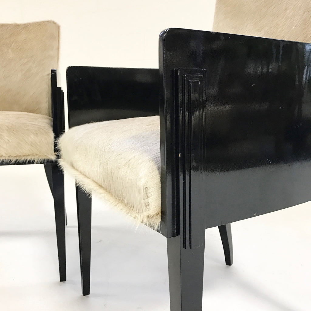 Pair of Art Deco Black Lacquered Chairs in Brazilian Cowhide - FORSYTH