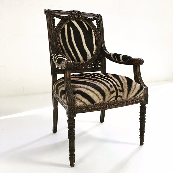 CARVED FRENCH CHAIR IN ZEBRA HIDE - FORSYTH