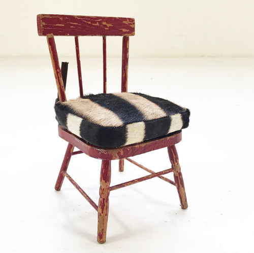 Mini Painted Red Chair with Zebra Hide Cushion - FORSYTH