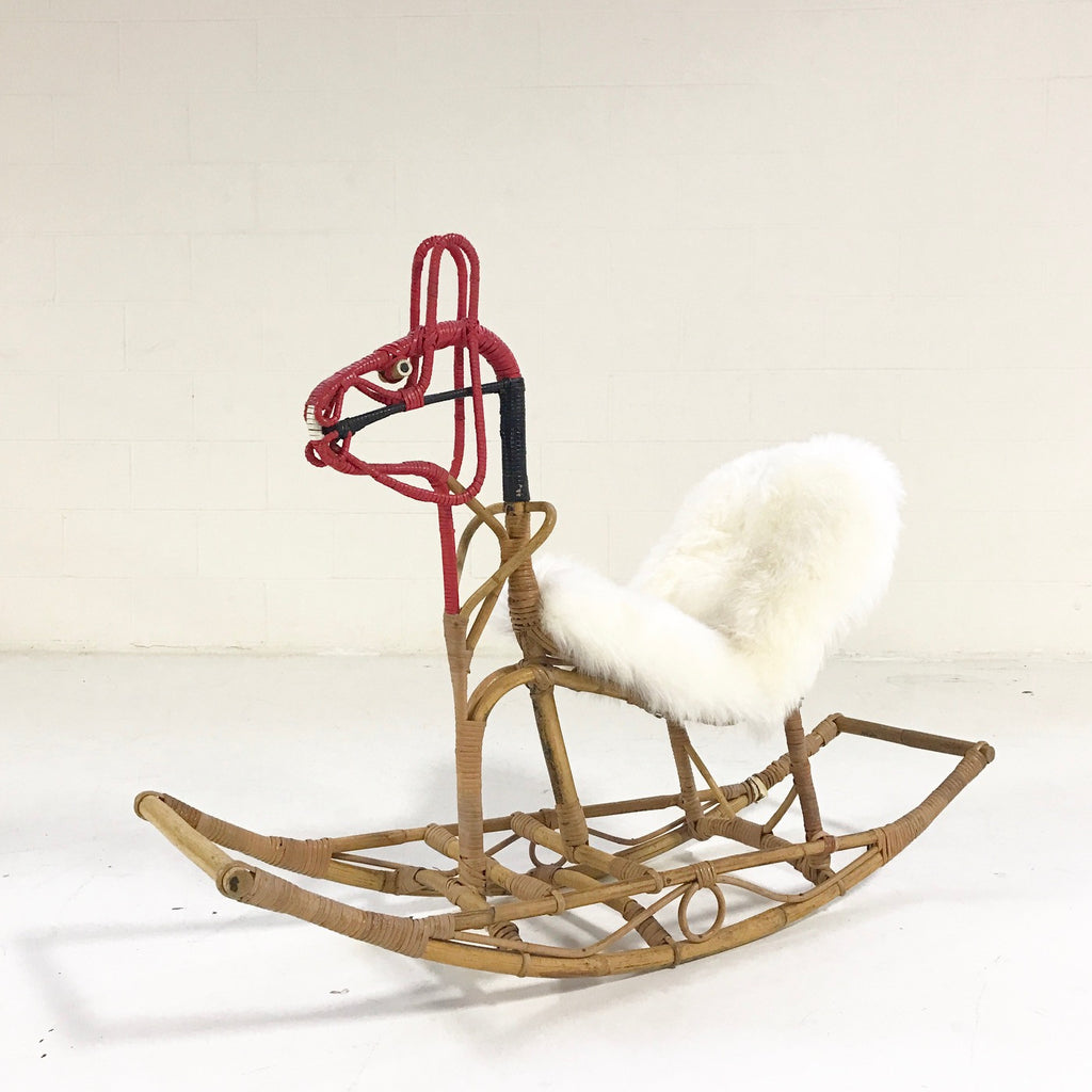 Scandinavian Rocking Horse with Custom Sheepskin Saddle