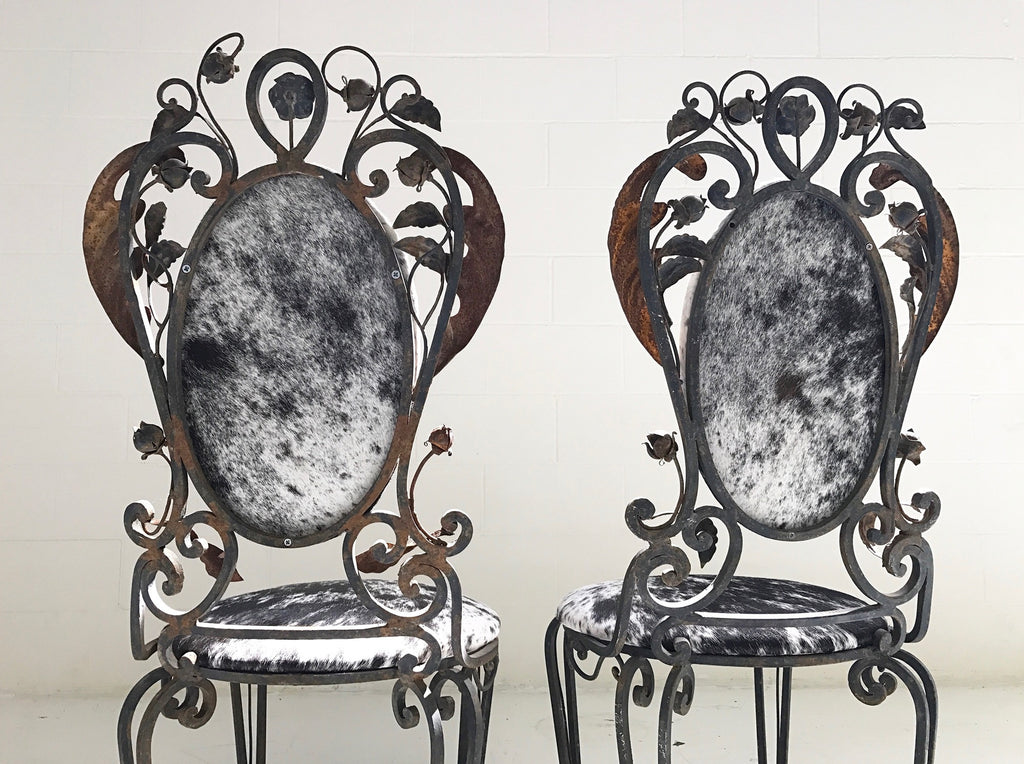 Vintage Iron Garden Chairs in Speckled Brazilian Cowhide - A Pair