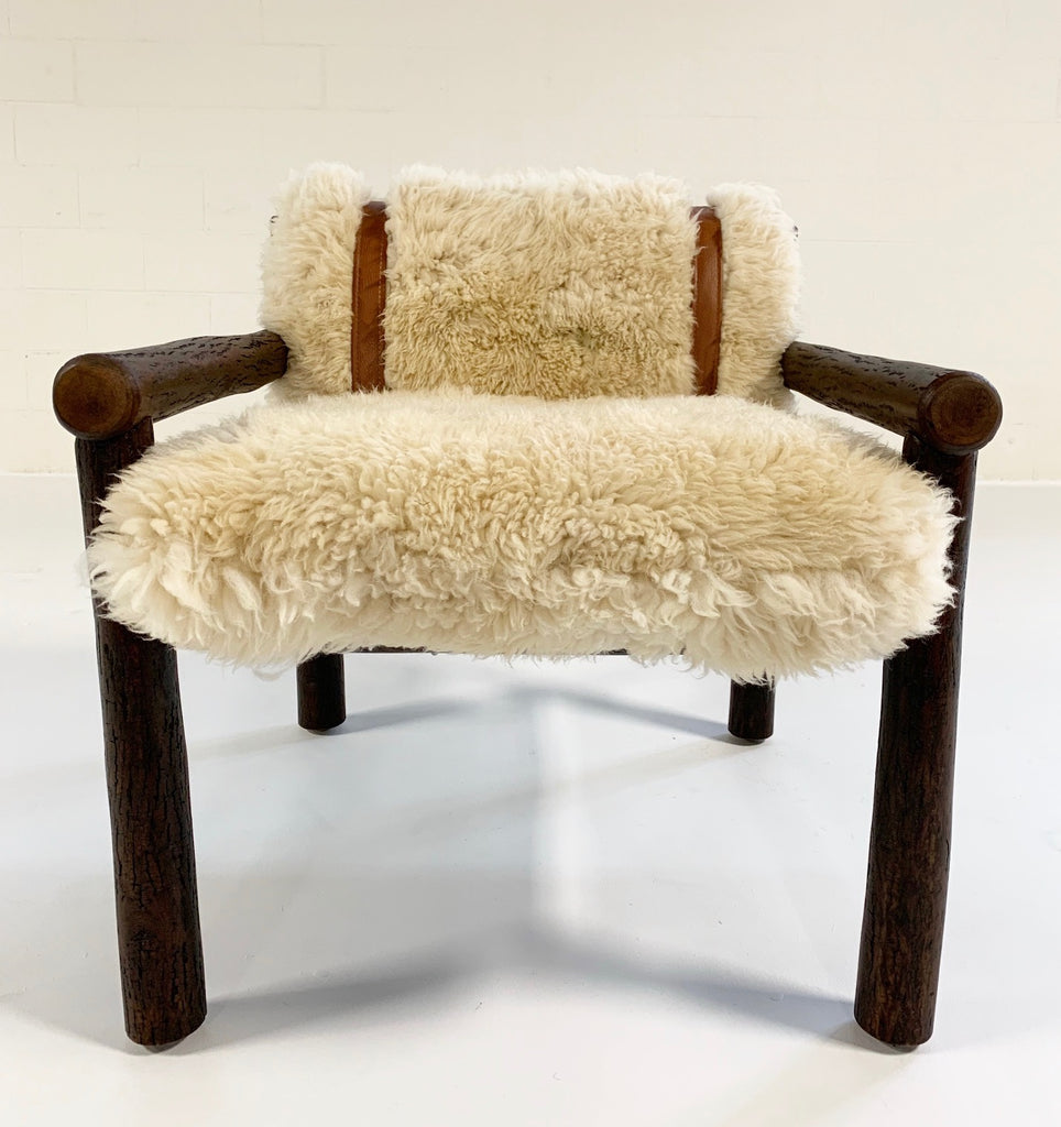 Forsyth x Old Hickory Butte Chair and Ottoman with Custom California Sheepskin Cushions and Loro Piana Buffalo Leather - FORSYTH