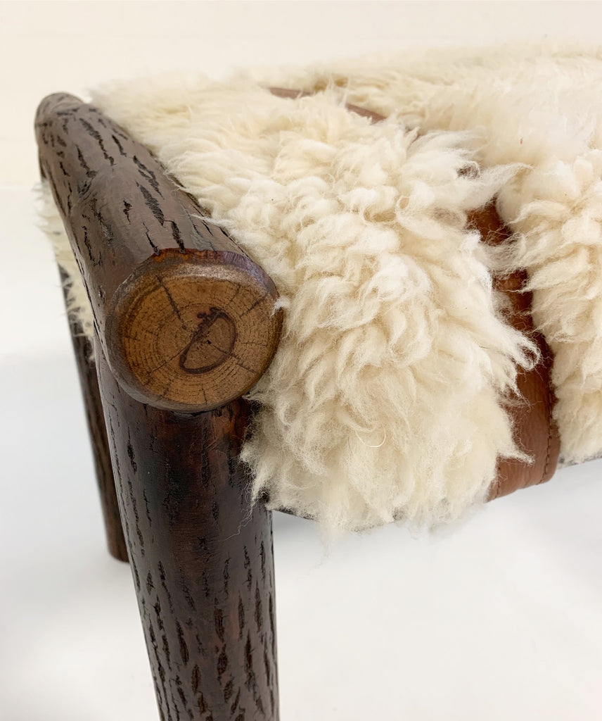 Forsyth x Old Hickory Butte Bench with Custom California Sheepskin Cushion and Loro Piana Buffalo Leather - FORSYTH