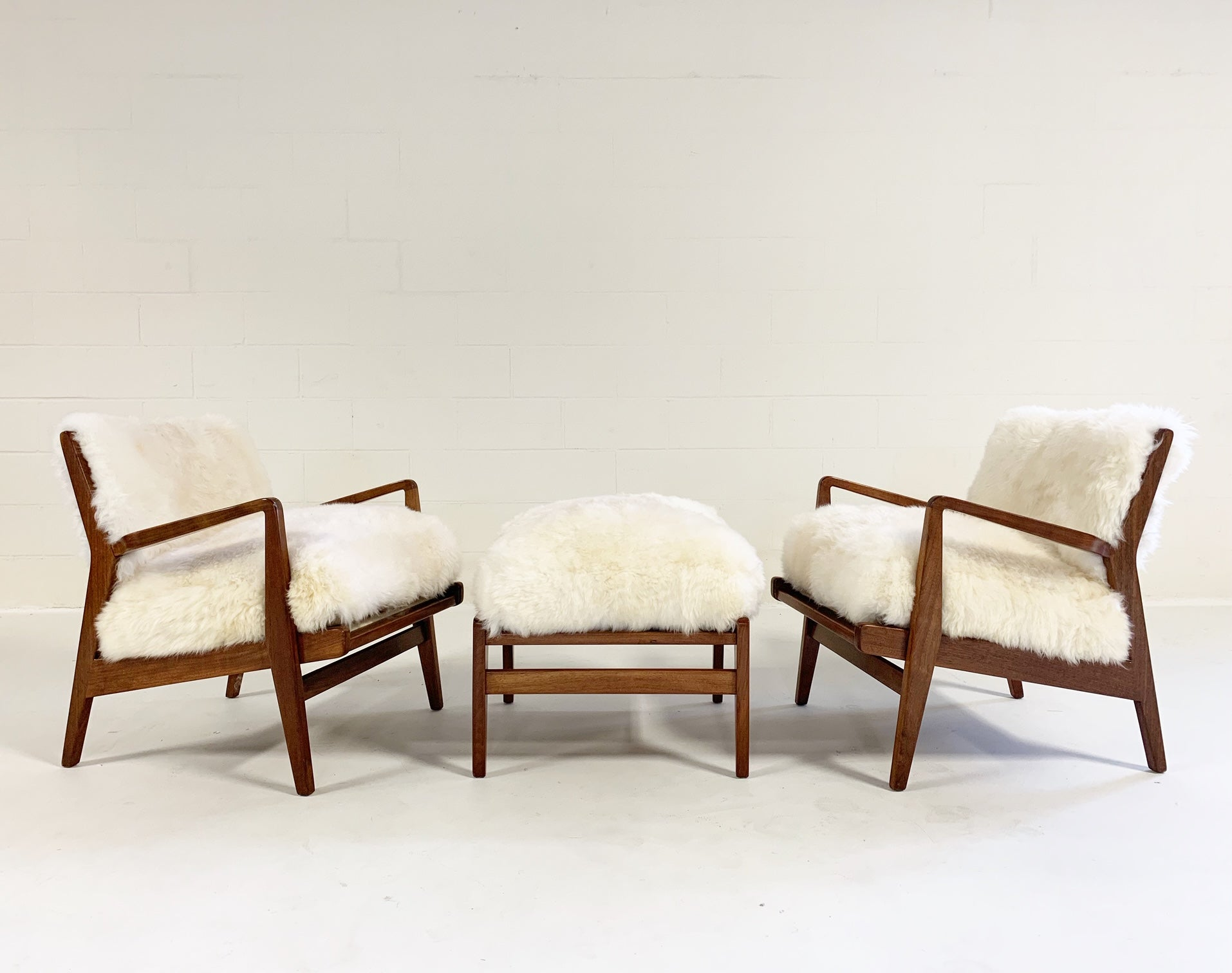Lounge Chairs & Ottoman in Brazilian Sheepskin - FORSYTH