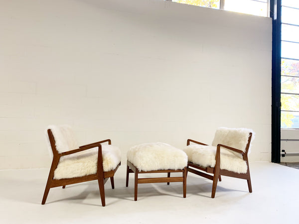 Vintage Jens Risom Lounge Chairs & Ottoman Restored in Brazilian Sheepskin - FORSYTH