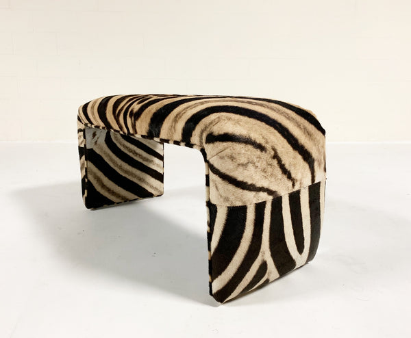 Vintage Waterfall Bench Restored in Zebra Hide - FORSYTH
