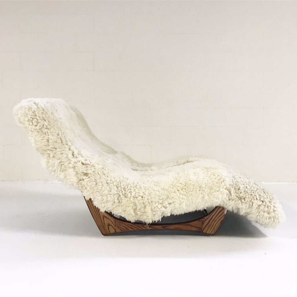 Vintage Adrian Pearsall Style Wave Chaise Lounge Chair Restored in Brazilian Sheepskin and Leather - FORSYTH