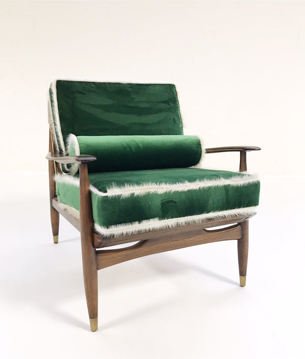 Walnut Lounge Chair in Schumacher's Silk Velvet - FORSYTH