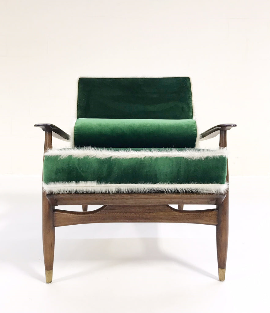 Vintage Walnut Lounge Chair Attributed to Finn Juhl Restored in Schumacher's Emerald Green Silk Velvet and Brazilian Cowhide - FORSYTH
