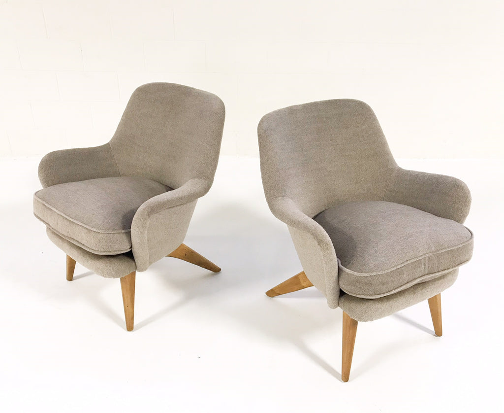 Vintage Pedro Armchairs by Carl-Gustav Hiort af Ornas Restored in Loro Piana Alpaca Wool - Pair - FORSYTH