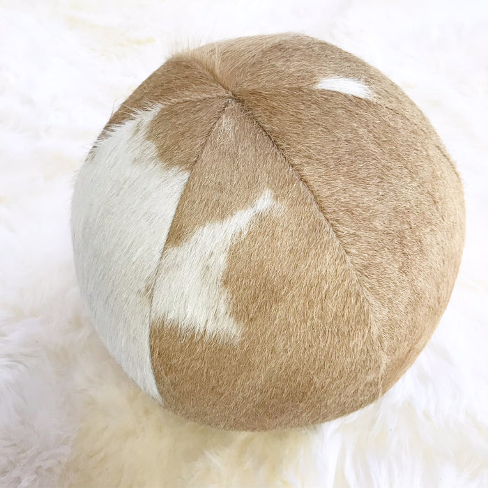"Palomino & White Cowhide Ball Pillow 12"" - FORSYTH"