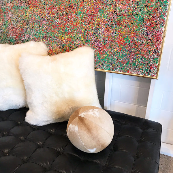 "Palomino & White Cowhide Ball Pillow, 12"" - FORSYTH"