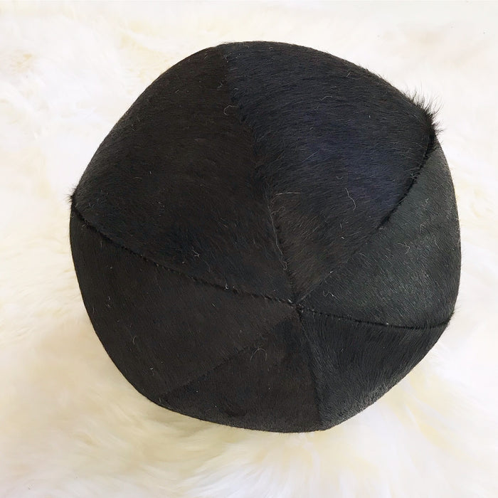 "Natural Black Cowhide Ball Pillow 12"" - FORSYTH"